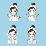 Os cuidados com a pele da máscara das mulheres enfrentam saudável e parecem mais novo ilustração do vetor