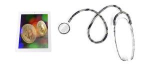 Os cuidados médicos custam, estetoscópio com o banco japonês n dos ienes da moeda Imagem de Stock