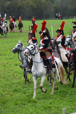 Os Cuirassiers em Borodino lutam o reenactment histórico em Rússia Foto de Stock