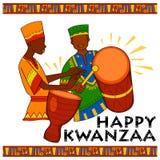 Os cumprimentos felizes de Kwanzaa para a celebração do festival afro-americano do feriado colhem Imagem de Stock Royalty Free