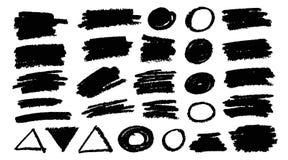 Os cursos da escova empacotam Grupo do pincel do vetor Elementos diagonais do projeto do grunge do retângulo quadrado redondo do  ilustração royalty free