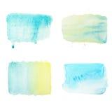 Os cursos e as gotas da escova da aquarela ajustaram-se, testes padrões geométricos simples da cor do aquarelle Fotos de Stock Royalty Free
