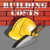 Os custos de construção representam a ilustração da construção 3d da casa Fotografia de Stock Royalty Free