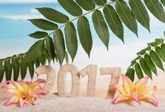 Os dígitos 2017 retorceram com corda, folhas e flores na areia outra vez foto de stock