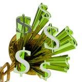 Os dólares de sinal significam a moeda e as finanças do dinheiro ilustração stock