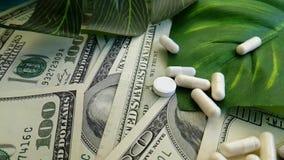 Os dólares encerram a medicamentação medicinal do conceito do investimento empresarial da terapia do custo, tiro do lento-movimen video estoque