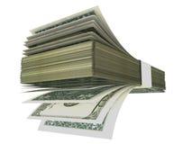 Os dólares fronteiam como a pilha do fã - rendição 3d Fotos de Stock Royalty Free