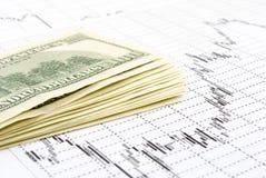 Os dólares no gráfico. Fotografia de Stock