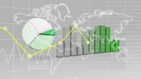 Os dados da estatística do mapa do mundo representam graficamente o fundo verde da finança 3D ilustração stock