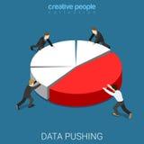 Os dados do informe anual empurram o vetor isométrico liso da carta de torta do diagrama Fotografia de Stock