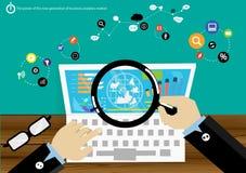 Os dados do mercado de análise de negócio da produção de eletricidade do vetor com comunicações avançadas trocam rapidamente a in Fotografia de Stock
