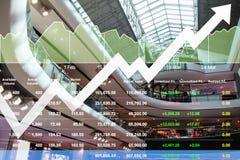 Os dados financeiros do índice de ações do negócio mostram o presentaion da taxa de crescimento Imagens de Stock Royalty Free