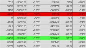 Os dados financeiros que mudam, linhas destacaram com cor na planilha eletrônica ilustração stock