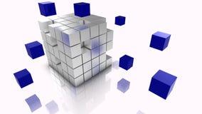 Os dados grandes cubam a prata e o azul da ilustração do conceito Fotografia de Stock