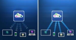 Os dados transferem arquivos pela rede transferências Fotos de Stock Royalty Free