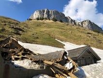 Os danos às explorações agrícolas da montanha causadas por avalanchas nevados no verschneite Lawinen do durch de Schäden da regi imagens de stock