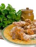 Os de poulet après repas Images libres de droits