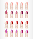 Os dedos da mulher Grupo de cor de formas diferentes dos pregos Imagem de Stock Royalty Free