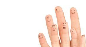 Os dedos sorriem, com um espaço para seu texto. Fotografia de Stock
