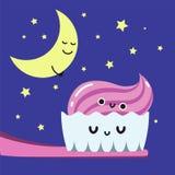 Os dentes de escovadela da noite feliz no banheiro, acostumam-se o cartão da criança ilustração royalty free