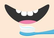 Os dentes de escovadela Toothrush com dentífrico Mouth com língua e o dente saudável Face de sorriso Liga branca da divisória do  ilustração royalty free