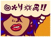 Os dentes de moedura da mulher irritada do painel da banda desenhada do estilo do pop art com bolha do discurso e juram a ilustra Fotos de Stock
