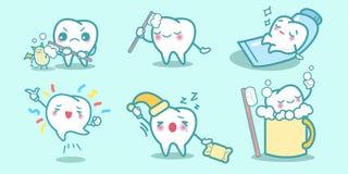 Os dentes dos desenhos animados fazem coisas diferentes Imagens de Stock