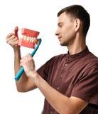 Os dentes grandes manequim e o doutor do dentista com escova de dentes mostram como escovar corretamente seus dentes foto de stock