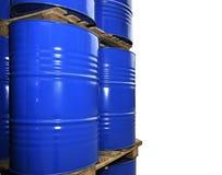 Os depósitos de gasolina azuis do metal do óleo armazenados na produção situam o isola Imagens de Stock