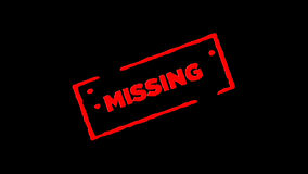 Os desaparecidos de borracha vermelhos do selo da tinta assinados zumbem dentro e zumbem para fora com fundos da transparência do filme