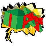 Os desenhos animados abriram a caixa de presente no fundo da banda desenhada ilustração royalty free
