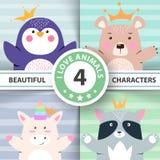 Os desenhos animados ajustaram animais - pinguim, urso, unicórnio, guaxinim ilustração do vetor