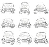 Os desenhos animados, ajustaram carros, contornos Fotos de Stock Royalty Free
