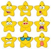 Os desenhos animados amarelos engraçados Emoji da estrela enfrentam o jogo de caracteres 1 da série coleção ilustração stock
