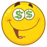 Os desenhos animados amarelos engraçados Emoji enfrentam o caráter com olhos do dólar e expressão de sorriso ilustração stock