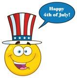 Os desenhos animados amarelos patrióticos felizes Emoji enfrentam o caráter que veste um chapéu dos EUA