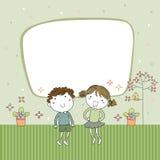 Os desenhos animados bonitos caçoam o frame ilustração stock