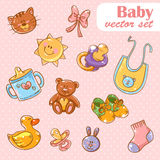 Fundo ajustado dos desenhos animados bonitos dos brinquedos do bebê Imagem de Stock