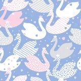 Os desenhos animados bonitos estilizaram cisnes Teste padrão colorido sem emenda do vetor ilustração do vetor