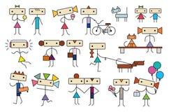 Os desenhos animados bonitos estilizaram a coleção dos caráteres dos povos das crianças dos adolescentes Ilustração Stock