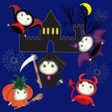 Os desenhos animados bonitos são típicos para o feriado de Dia das Bruxas ilustração royalty free