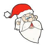 os desenhos animados cômicos Papai Noel alegre enfrentam Imagens de Stock Royalty Free