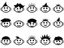Os desenhos animados caçoam a face com ícones do estilo de cabelo Imagem de Stock