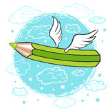Os desenhos animados coloriram o lápis com as asas nas nuvens ilustração royalty free