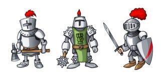 Os desenhos animados coloriram três cavaleiros medievais que prepering para o cavaleiro Tournament imagem de stock