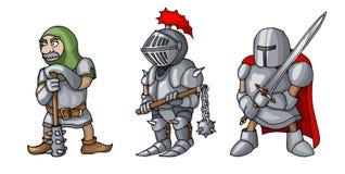Os desenhos animados coloriram três cavaleiros medievais que prepering para o cavaleiro Tournament imagens de stock royalty free