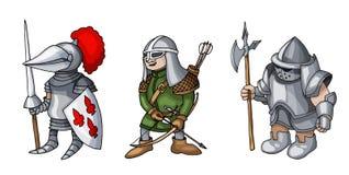 Os desenhos animados coloriram três cavaleiros medievais que prepering para o cavaleiro Tournament fotografia de stock royalty free