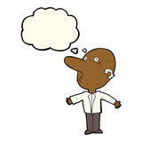 os desenhos animados confundiram o homem envelhecido meio com a bolha do pensamento Foto de Stock Royalty Free