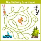 Os desenhos animados da educação continuarão a casa da maneira lógica de animais coloridos Traga a casa do coelho na floresta sel ilustração royalty free