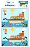 Os desenhos animados da educação para encontrar 10 diferenças nas imagens das crianças, o barco flutuam com os animais da florest Fotos de Stock Royalty Free